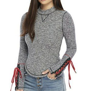 Free People Mountaineer Lace Up Sleeve Sweater